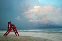 Red Lifeguard Chair on the Beach